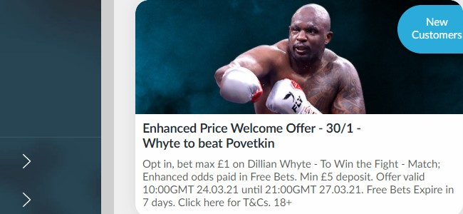 Enhanced Price Welcome Offer from Betvictor if Whyte beats Povetkin!