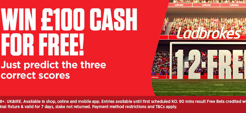 Predict 3 correct scores with 1-2-Free to win £100 cash from Ladbrokes!