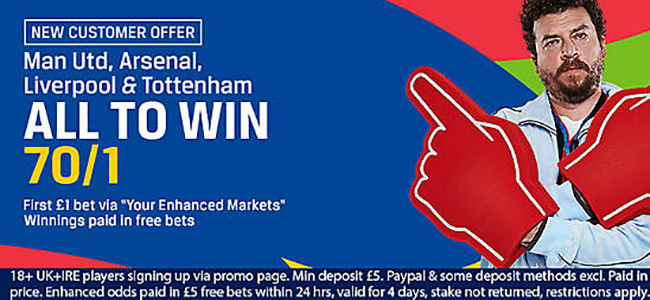 New customers can get 70/1 on Man Utd, Arsenal, Liverpool & Tottenham all to win this wekend  with Coral betting operator!