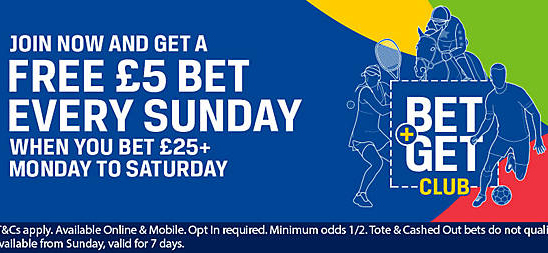 Bet more than 25 GBP and get a free bet every Sunday with Coral bookmaker!